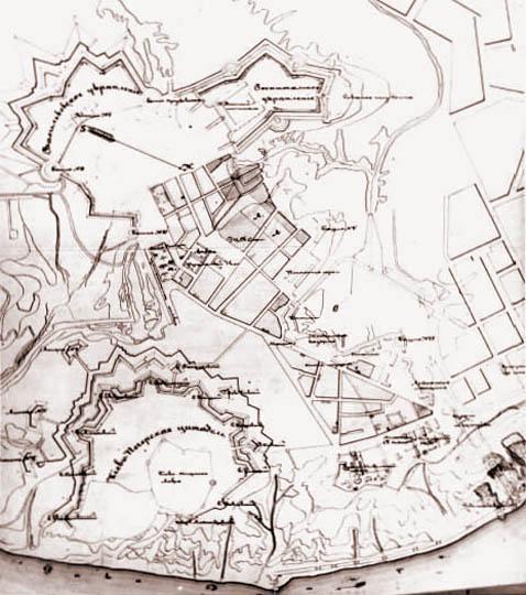 План крепости в середине XIX века